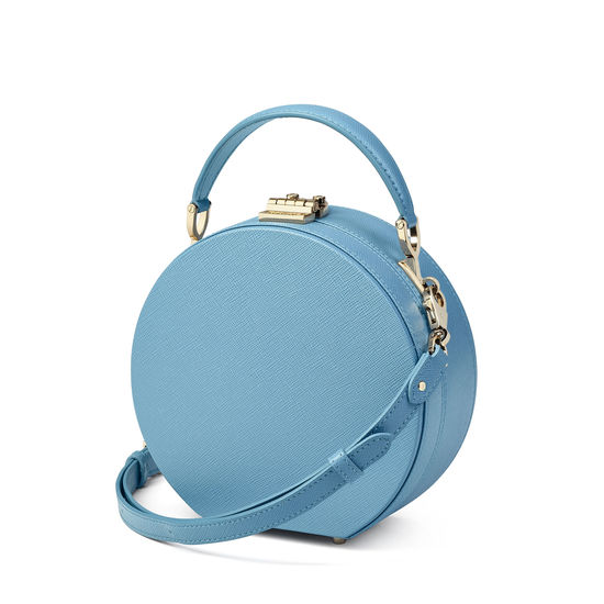 Hat Box in Bluebird Saffiano from Aspinal of London