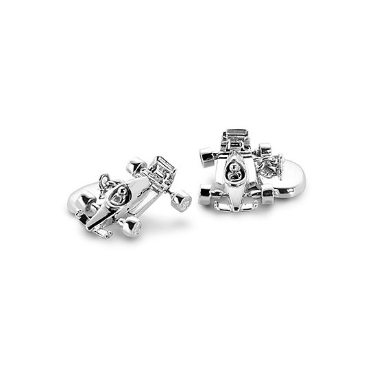 Sterling Silver Racing Car & Chequered Flag Cufflinks from Aspinal of London