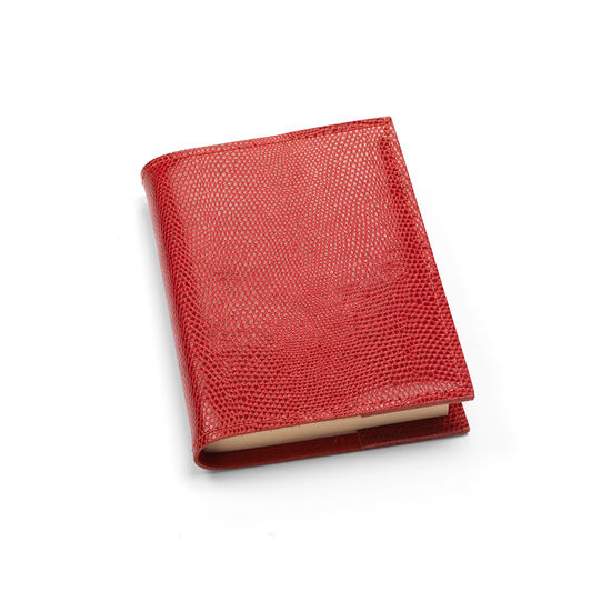 Refillable Pocket Notebook in Berry Lizard from Aspinal of London