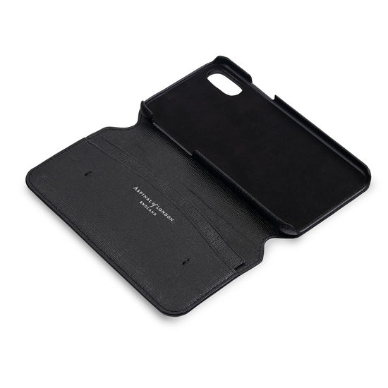 iPhone X Leather Book Case in Black Saffiano from Aspinal of London