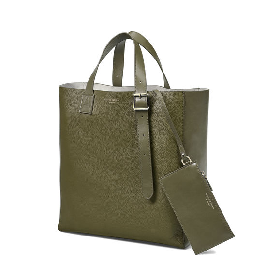 Editor's 'A' Tote in Olive Pebble from Aspinal of London