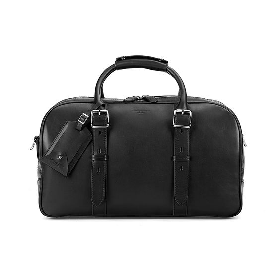 Small Harrison Weekender Travel Bag in Smooth Black from Aspinal of London