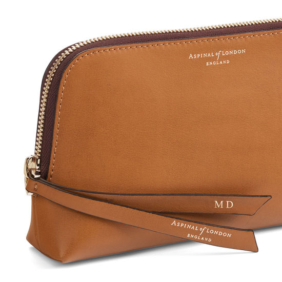 Small Essential Cosmetic Case in Smooth Tan from Aspinal of London