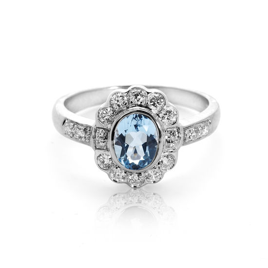 Debutante Aquamarine & Diamond Ring from Aspinal of London