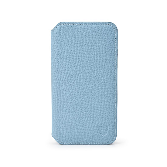 iPhone X Leather Book Case in Bluebird Saffiano from Aspinal of London