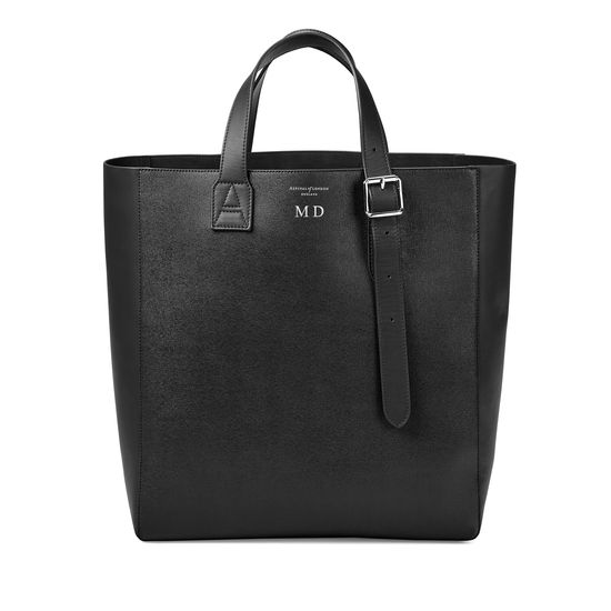 Editor's 'A' Tote in Black Saffiano & Black Suede from Aspinal of London
