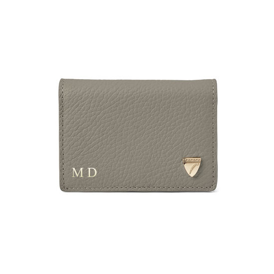 Accordion Zipped Credit Card Holder in Warm Grey Pebble from Aspinal of London
