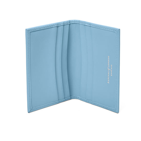 Double Fold Credit Card Case in Smooth Bluebird from Aspinal of London