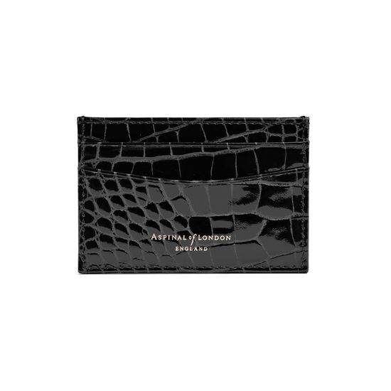 Slim Credit Card Case in Black Patent Croc from Aspinal of London