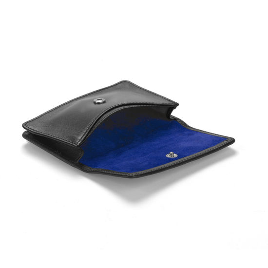 Business & Credit Card Case in Smooth Black & Cobalt Suede from Aspinal of London