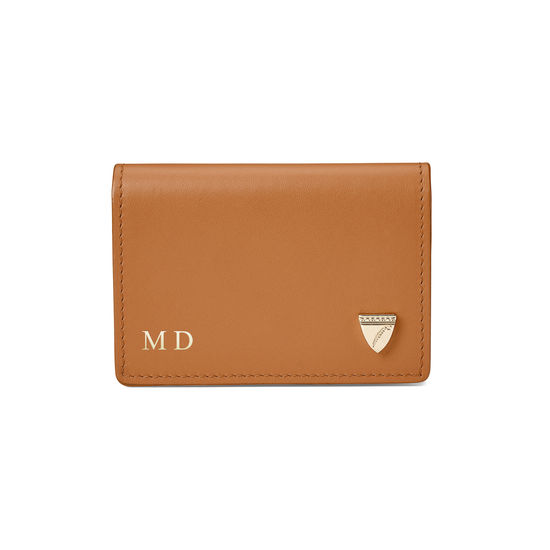 Accordion Zipped Credit Card Holder in Smooth Natural Tan from Aspinal of London