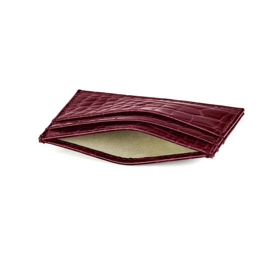 Slim Credit Card Case in Bordeaux Patent Croc from Aspinal of London