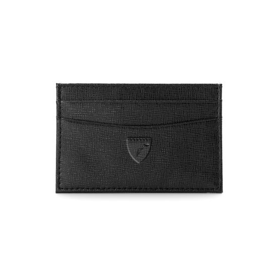 Slim Credit Card Case in Black Saffiano from Aspinal of London