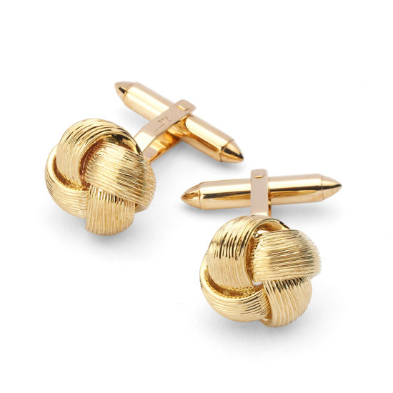 9ct Gold Fine Wire Knot Cufflinks from Aspinal of London