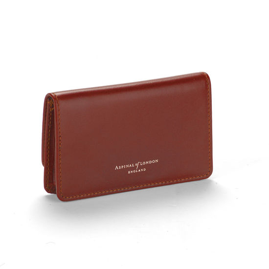 Business & Credit Card Case in Smooth Cognac & Espresso Suede from Aspinal of London