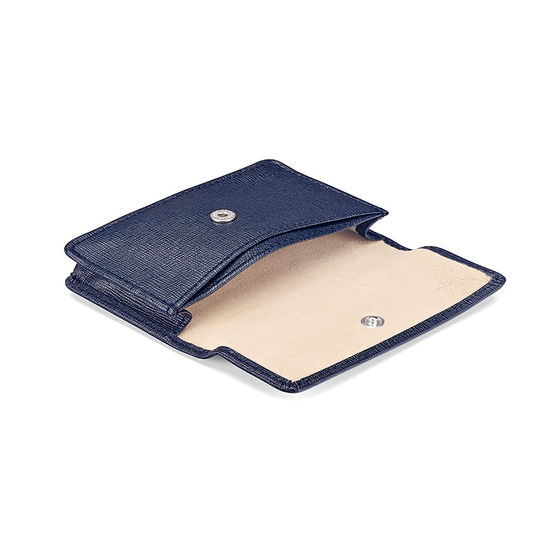 Business & Credit Card Case in Navy Saffiano & Cream Suede from Aspinal of London