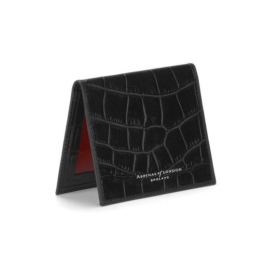 ID & Travel Card Case in Deep Shine Black Croc & Red Suede from Aspinal of London