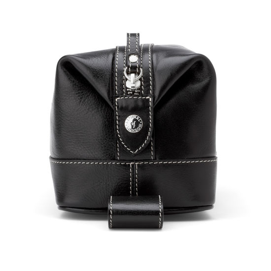 Men's Leather Wash Bag in Smooth Black from Aspinal of London