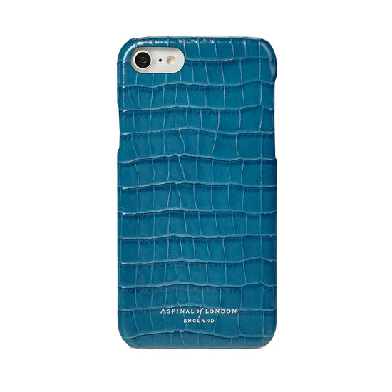 iPhone 7/8 Leather Cover in Deep Shine Topaz Small Croc from Aspinal of London