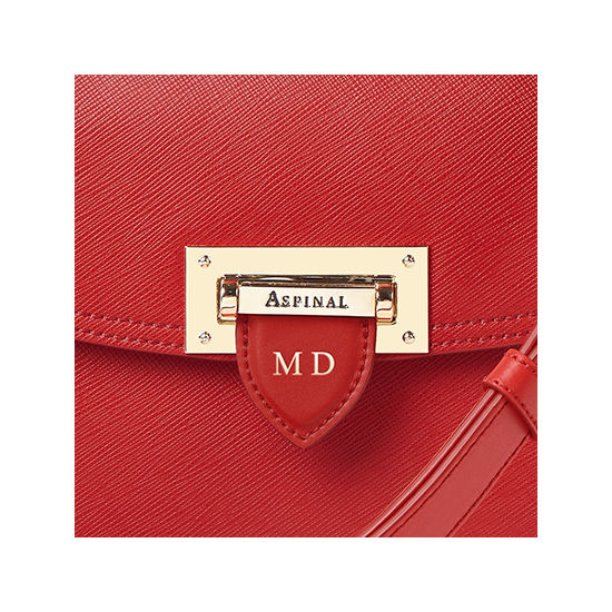 Letterbox Saddle Bag in Scarlet Saffiano from Aspinal of London
