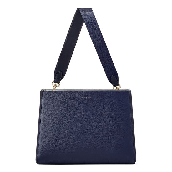 Large Ella Hobo in Bluemoon Pebble with Plain Strap from Aspinal of London