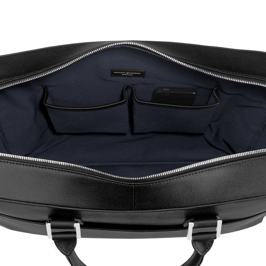 Large Mount Street Laptop Bag in Black Saffiano from Aspinal of London