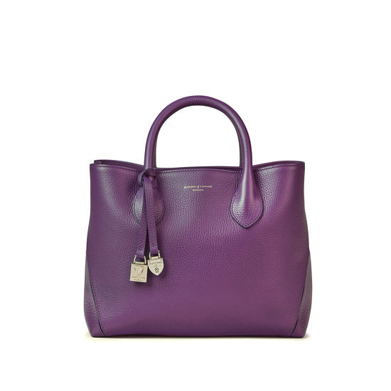 Midi London Tote in Amethyst Pebble from Aspinal of London