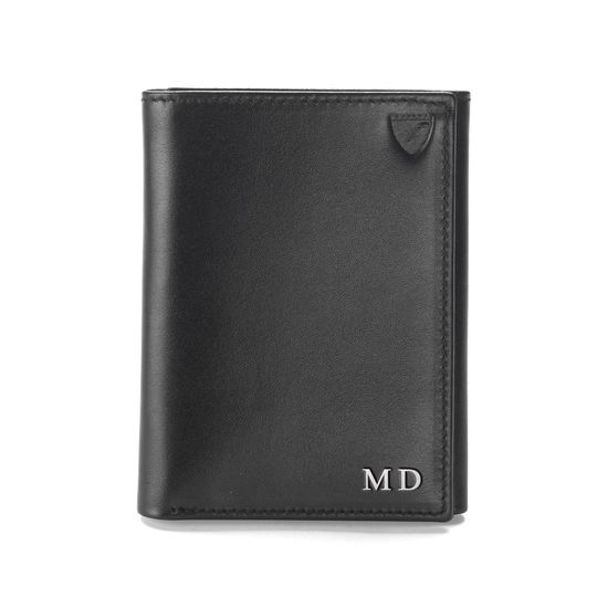 Trifold Wallet in Smooth Black from Aspinal of London