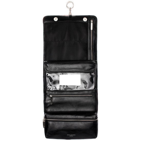 Men's Leather Hanging Wash Bag in Smooth Black from Aspinal of London