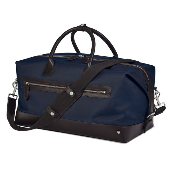 Anderson Holdall in Navy Nylon & Smooth Chocolate Leather Trim from Aspinal of London