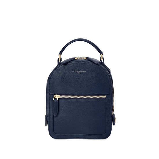 Micro Mount Street Backpack in Navy Saffiano from Aspinal of London