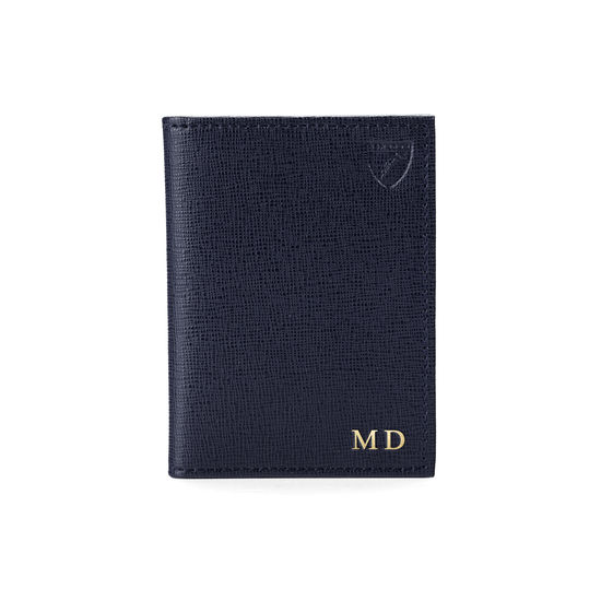 Double Fold Credit Card Case in Navy Saffiano from Aspinal of London