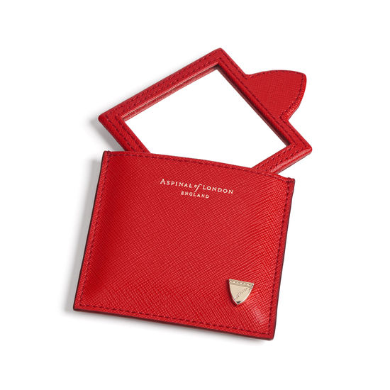 Compact Mirror in Scarlet Saffiano from Aspinal of London