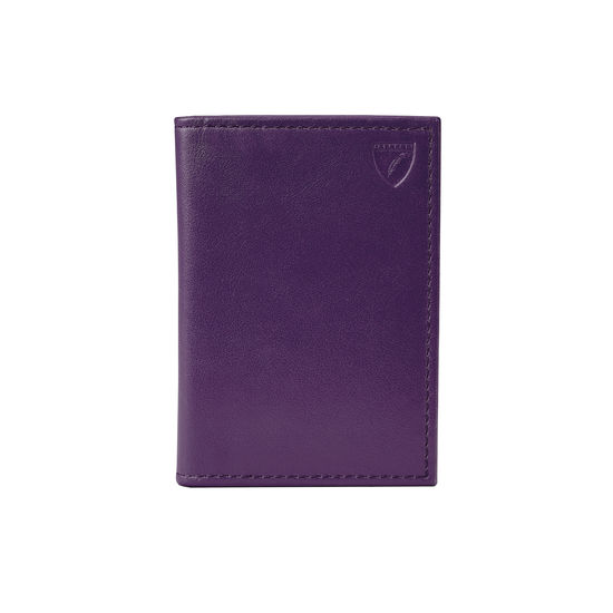 Smooth Amethyst Double Fold Credit Card Case | Aspinal of London