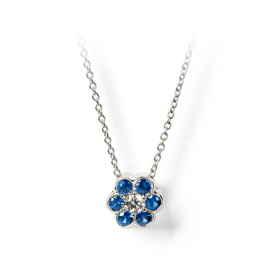 Athena 18ct White Gold Sapphire & Diamond Cluster Pendant Necklace from Aspinal of London