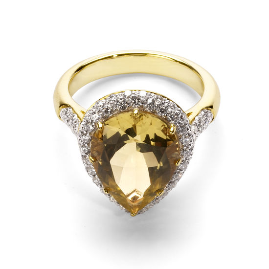 Hollywood Teardrop Lemon Quartz & Diamond Ring from Aspinal of London