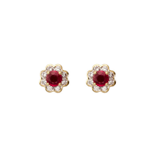 Debutante Ruby & Diamond Stud Earrings from Aspinal of London