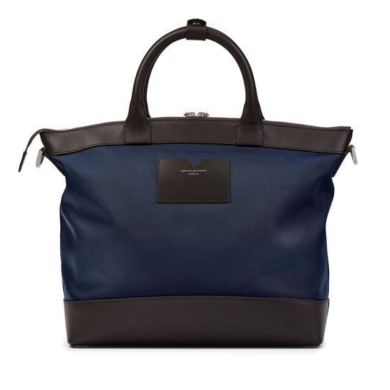 Small Anderson Tote in Navy Nylon & Smooth Chocolate Leather Trim from Aspinal of London