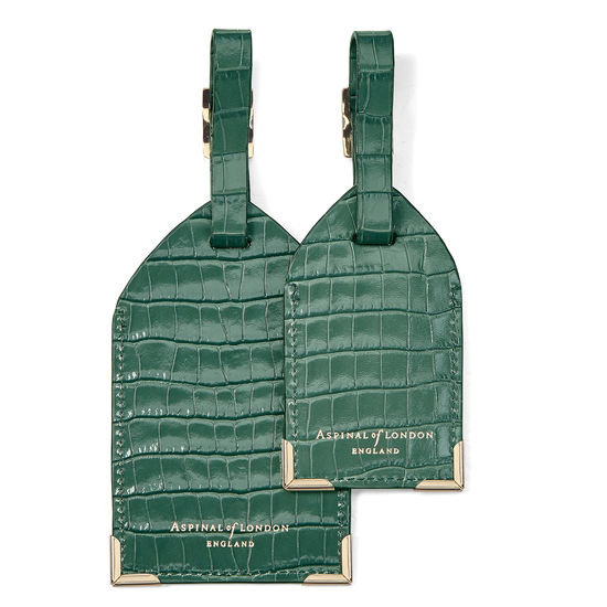 Set of 2 Luggage Tags in Sage Small Croc from Aspinal of London