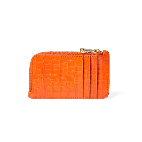Zipped Coin & Card Holder in Amber Small Croc from Aspinal of London
