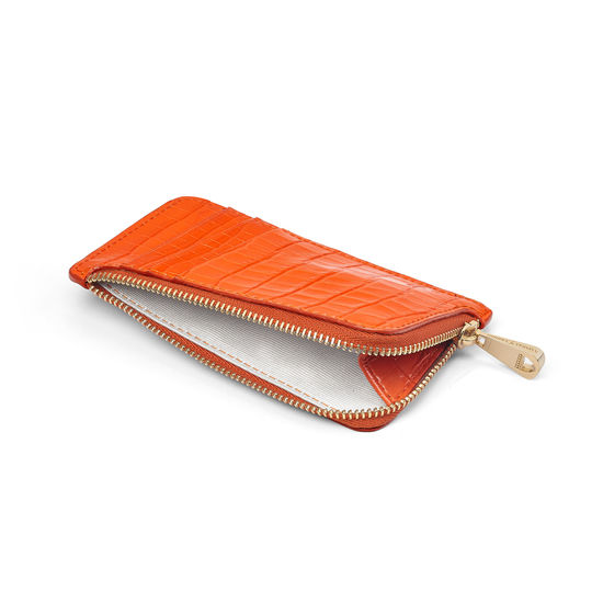 Small Zipped Coin Purse in Amber Small Croc from Aspinal of London