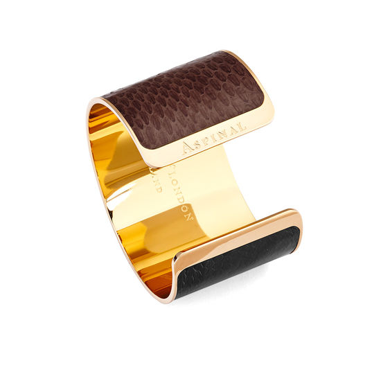 Minerva Cuff Bracelet in Black, Leopard & Brown Snake from Aspinal of London