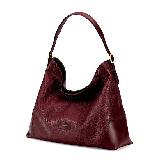 Aspinal Hobo Bag in Bordeaux Pebble from Aspinal of London