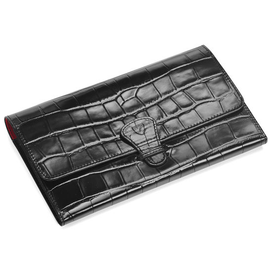 Classic Travel Wallet in Deep Shine Black Croc & Red Suede from Aspinal of London