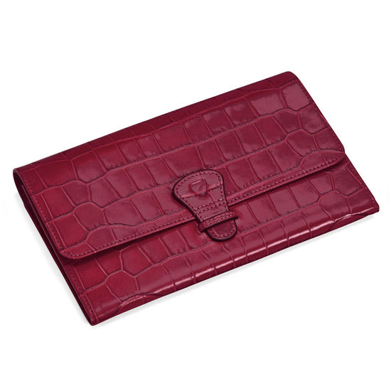 Classic Travel Wallet in Deep Shine Bordeaux Croc from Aspinal of London