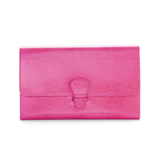 Classic Travel Wallet in Raspberry Lizard & Pale Blue Suede from Aspinal of London