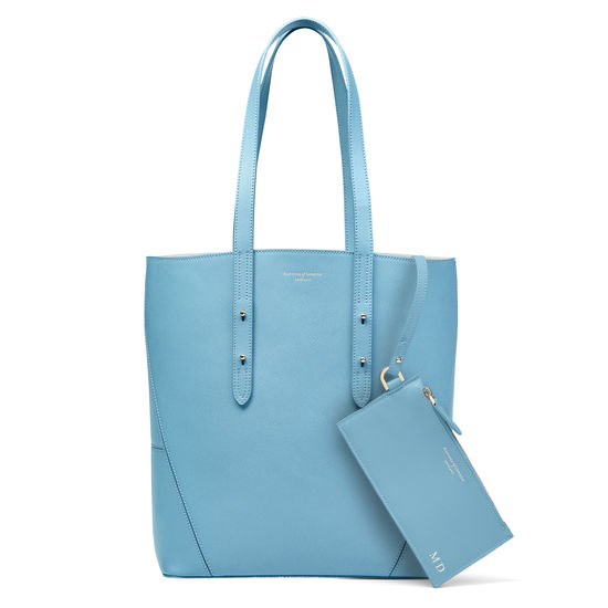 Essential Tote in Bluebird Saffiano (with A-Stitched Side Panels) from Aspinal of London