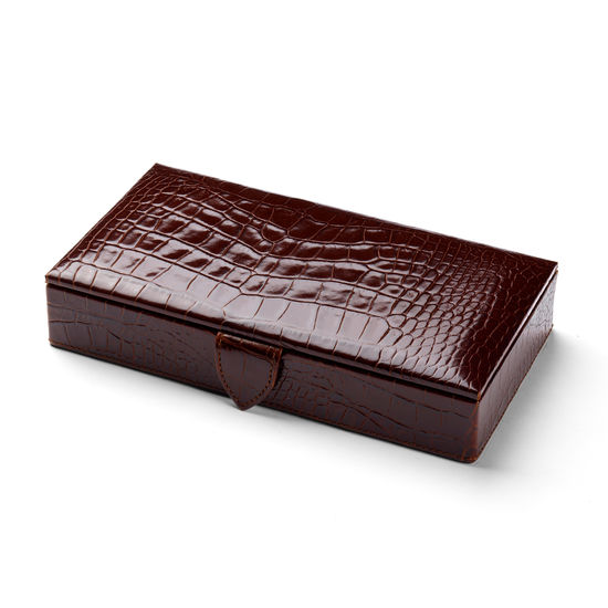 Men's Cufflink Box in Deep Shine Amazon Brown Croc & Stone Suede from Aspinal of London