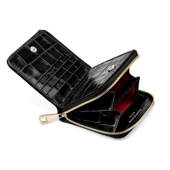 Mini Continental Zipped Coin Purse in Deep Shine Black Croc from Aspinal of London
