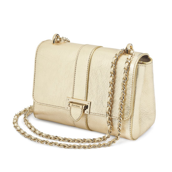 Lottie Bag in Pale Gold Pebble from Aspinal of London